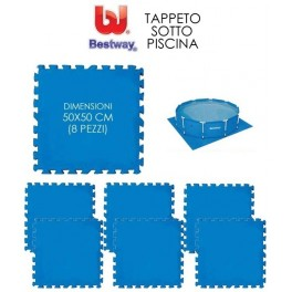 """TAPPETO IN GOMMA COMPONIBILE TAPPETINO TAPPETINI SOTTO PISCINA cm.50X50 (pz.8) """"BESTWAY"""" mod.58220"""